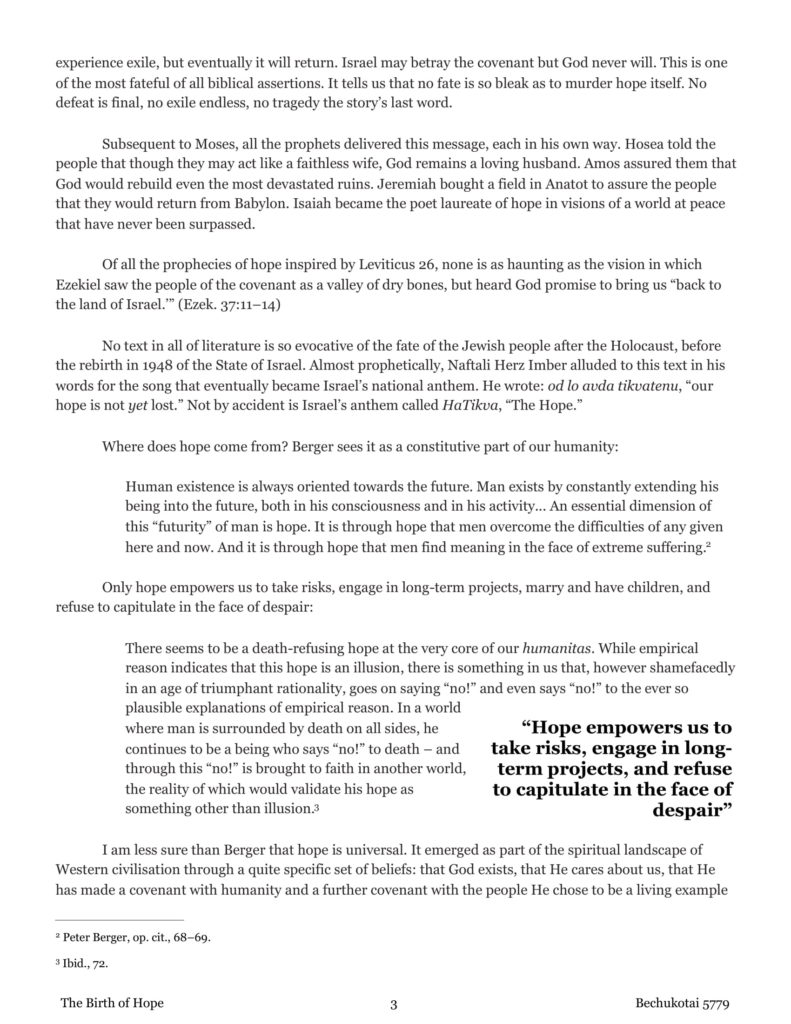 Rabbi Lord Jonathan Sacks- The Birth of Hope - Bechukotai